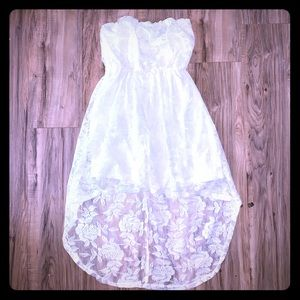 Ivory lace high low strapless dress Sz M